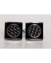 BLACKSMITHH CUFFLINKS- Black And Silver Fibre Mesh Underlays Are Encased In A Square Enamel Base To Create This Complex Yet Easy To Wear Cufflink.