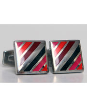 BLACKSMITHH CUFFLINKS - A UNIQUE DESIGN WITH DIAGONAL STRIPES IN SHADES OF RED ENAMEL