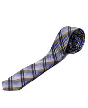 BLACKSMITHH TIES - BLUE AND GREY ABSTRACT CHECKS
