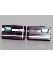 BLACKSMITHH CUFFLINKS - Stunning Stripes Of Purple Jade, Amethyst And Mother Of Pearl Topped With A Peridot Swarovski Crystal