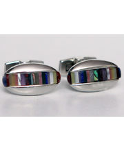 BLACKSMITHH CUFFLINKS - A Fantastic Mix Of Lapis, Jade, Jasper And Cats Eye Strips In A Curvaceous Oval Cufflink