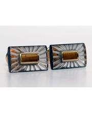 BLACKSMITHH CUFFLINKS - BEIGE ENGRAVED CRYSTAL WITH TIGER EYE AT THE CENTER