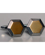 BLACKSMITHH CUFFLINKS - A Gold Honey Hexagon Surrounded By Descending Layers Of Engraved Metal