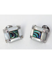 BLACKSMITHH CUFFLINKS - SLAB OF ABALONE SHELL AND MOTHER OF PEARL SET IN AN ORNATE, VINTAGE CASE