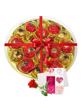 Rich Choco Platter With Love Card And Rose - Choch...