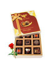 Surprises Of Delightful Chocolates With Red Rose -...