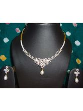 American Diamond And Ruby Necklace-NL039