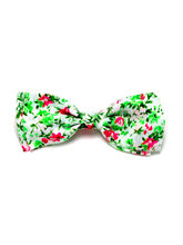 White And Neon Floral Batwing Bow