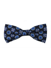 Navy Blue Printed Dots Bow Tie