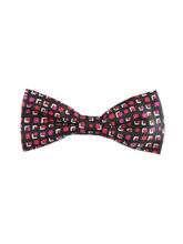 Black And Hot Pink Geometric Pattern Bow Tie