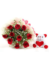 Ferns N Petals Red Roses & Teddy - Rose Day