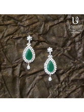 Clustered Diamond Drops With Emerald Stone, Green
