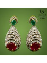 Red & Green Shell Earrings, Red & Green