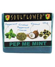Soulflower Pep Me Mint 100% Vegan Soap -150 Gms